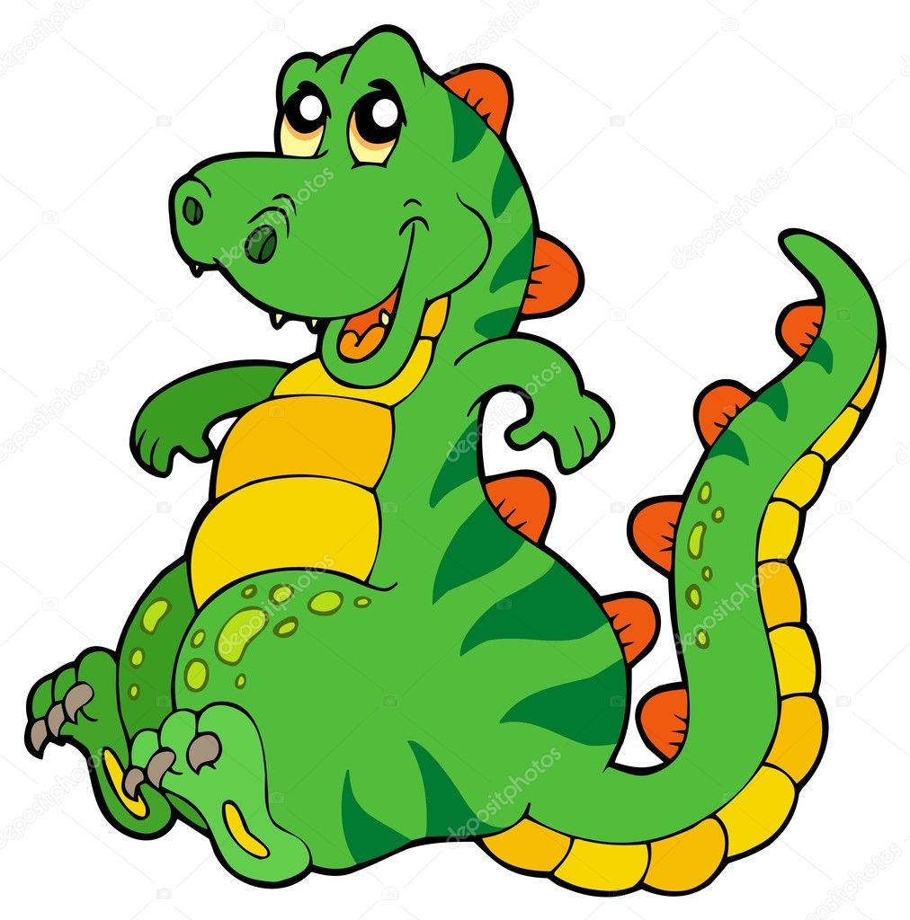 cute sitting dinosaur stock vector clairev 3569416