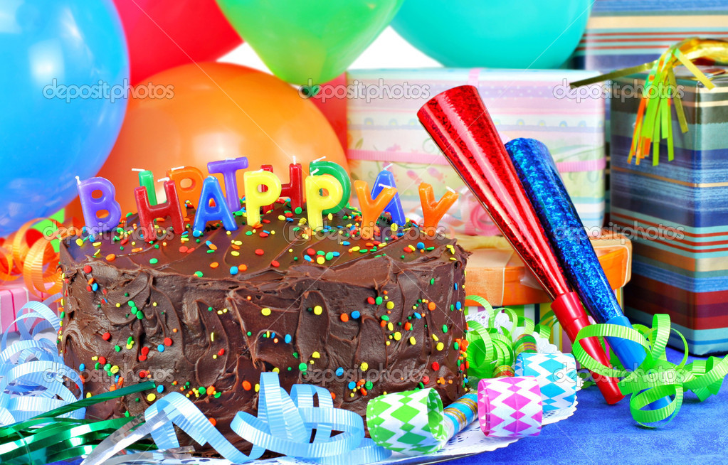 Happy Birthday Cake Balloons Gifts Stock Photo Image By C Rojoimages 3014781