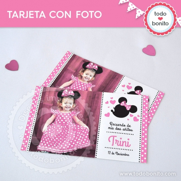 Invitaciones Minnie Mouse Rosa Y Dorado Gratis Unix Drawers