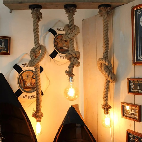 Függő lámpa hajókötélen 150cm Lámpa
