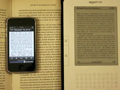 Kindle for iPhone is fabulous. It's much easier than dragging a fat book around.