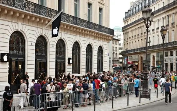 And here's the exterior of the Paris store on the day it opened