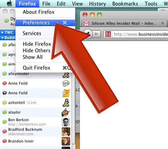 From the Firefox menu, select Preferences.