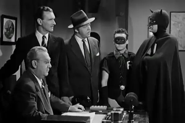 "1943-1949: ""Batman and Robin"" serial – The Dark Knight wore a long snout and flimsy ears that makes him look completely unrecognizable."