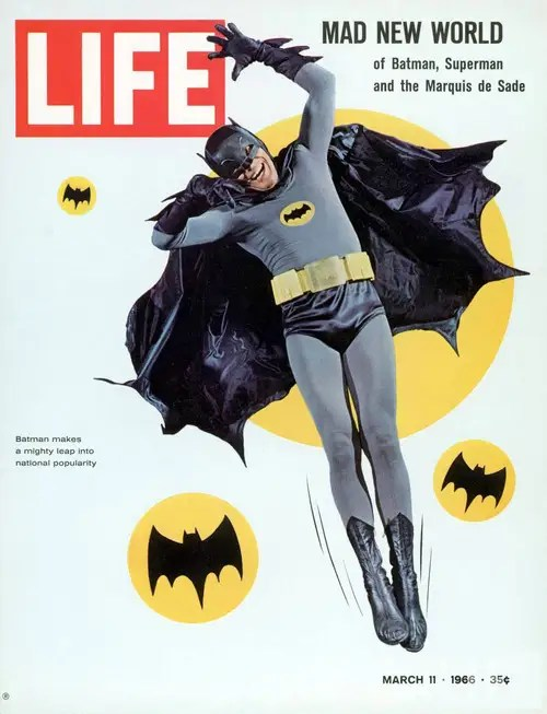 1966-1968: Adam West's Batman – The costume lightened in tone to parallel the new comical portrayal of the Caped Crusader.
