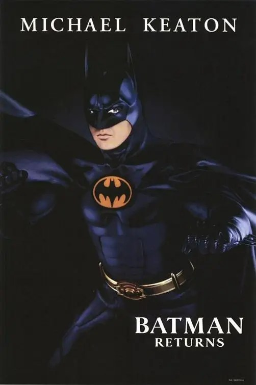 "1992: Batman Returns"" – Major changes in the sequel include the bat emblem and design of the suit. Batman's chest and abs look less natural."
