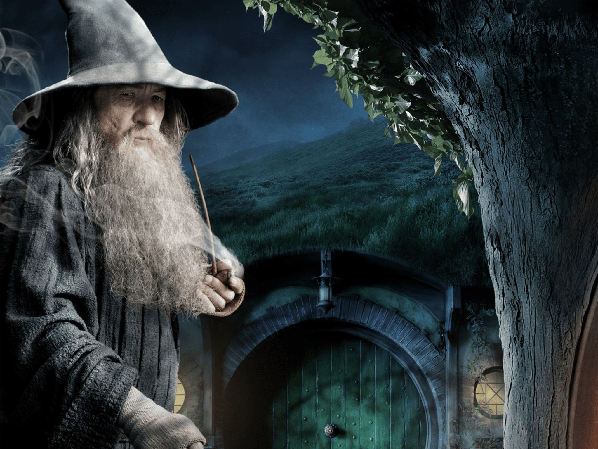 Gandalf shows up at Bilbo Baggins house at Bag End unexpectedly, tricking him into hosting a feast for 13 dwarves.