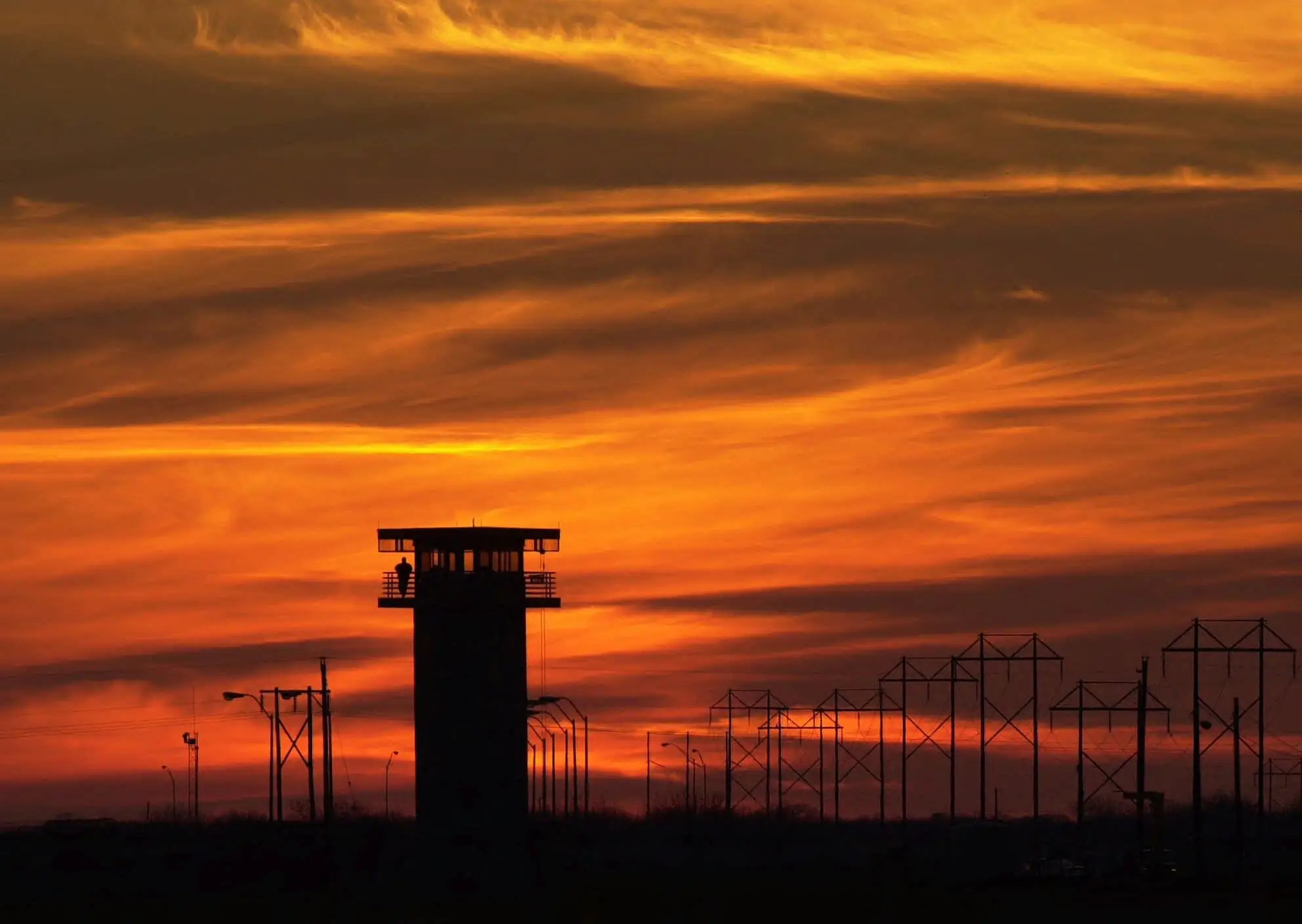 Prison Guard Tower At Sunset in Texas