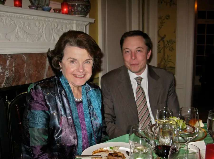 Of course, Musk isn't only popular in Hollywood. His job creation in California made him close allies with Senator Dianne Feinstein in the mid-2000s...