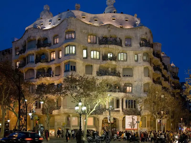 "Casa Milà is better known as ""La Pedrera."" Gaudí constructed this apartment building between 1905 and 1910."