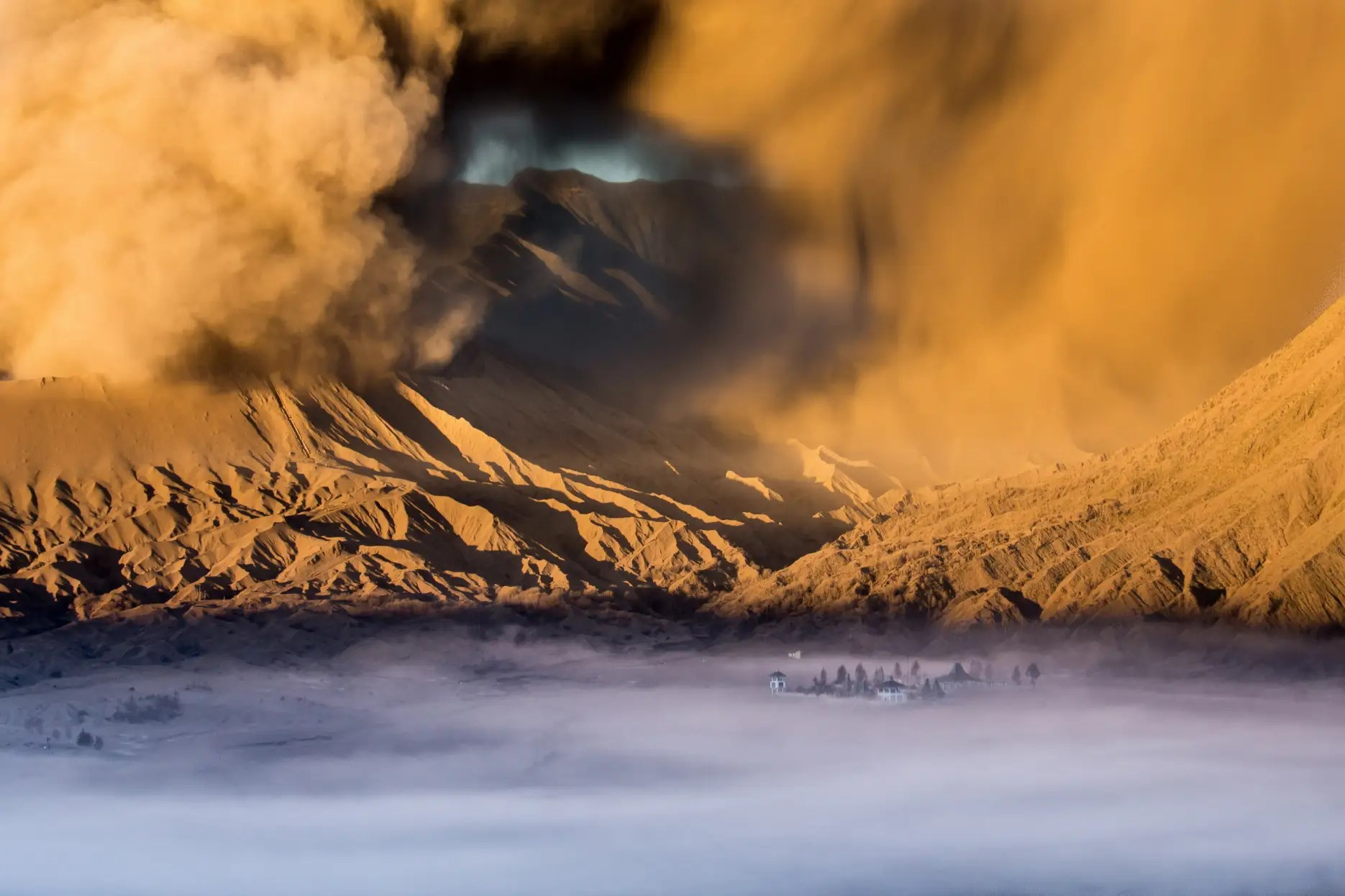 Temple At The Foot of Mount Bromo, Java, Indonesia