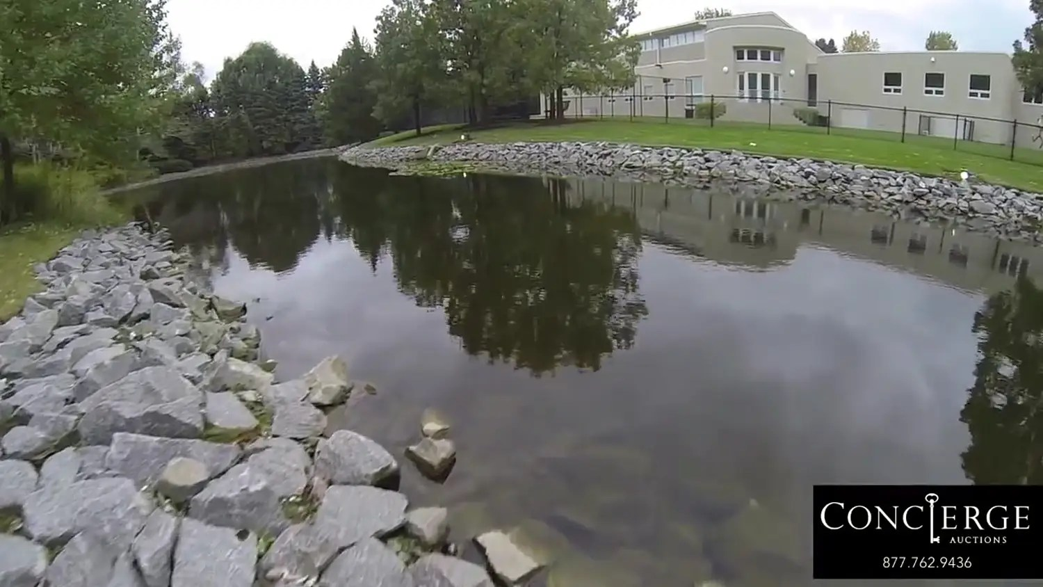 There's a pond stocked with fish.