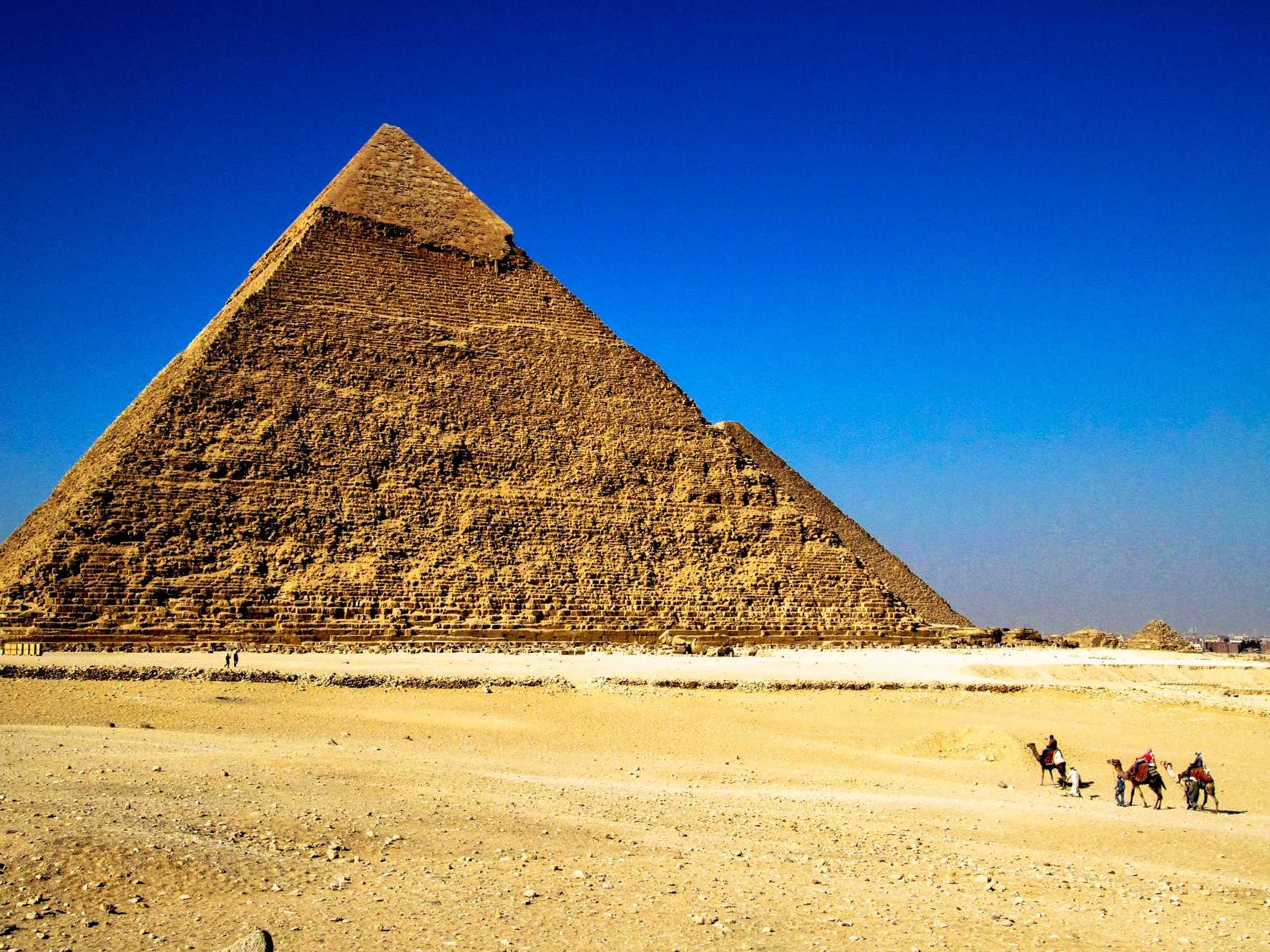 Marvel at the Great Pyramid of Giza outside Cairo, Egypt.