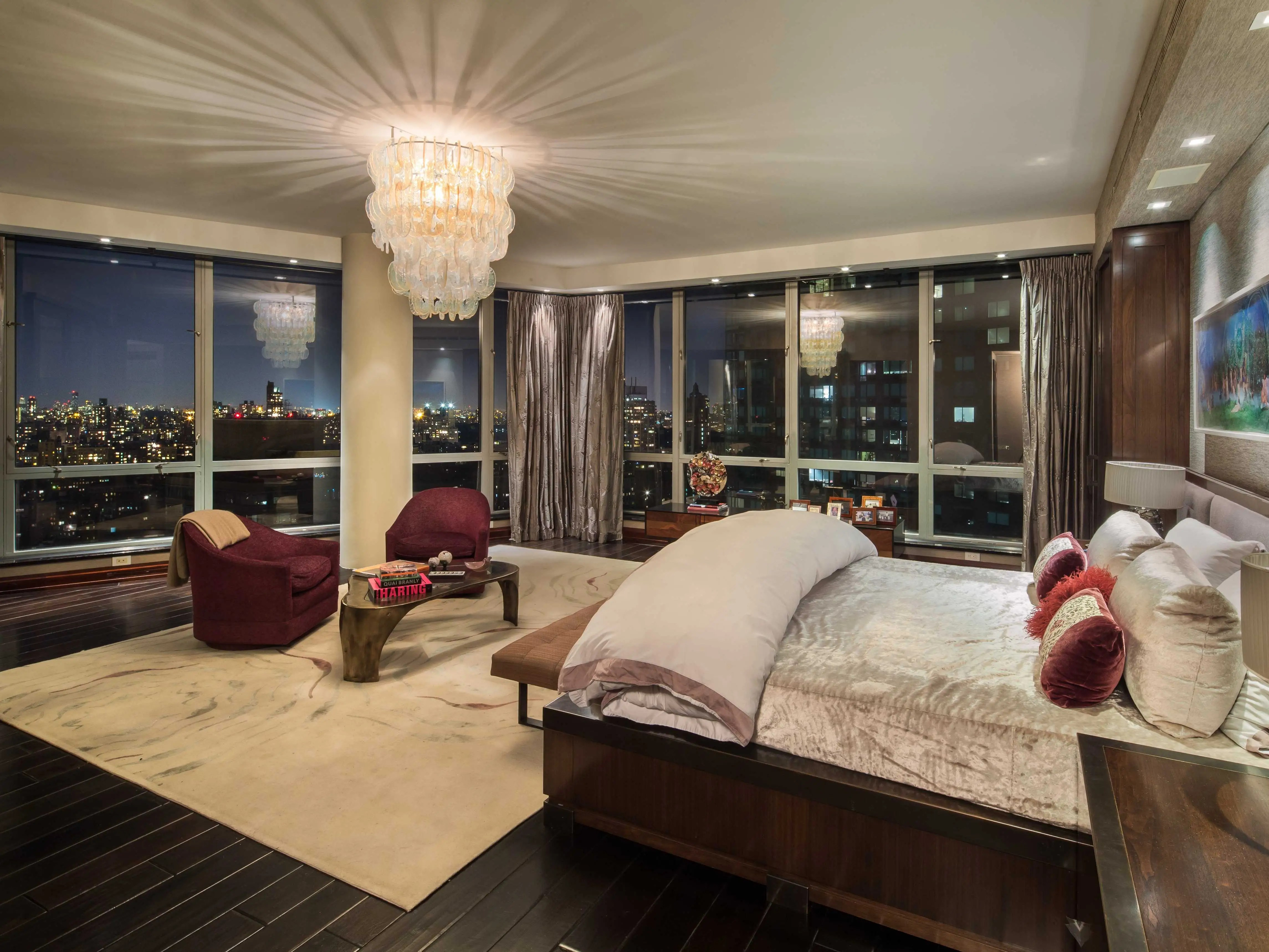 The penthouse has a grand total of eight bedrooms. The master bedroom has stunning views.