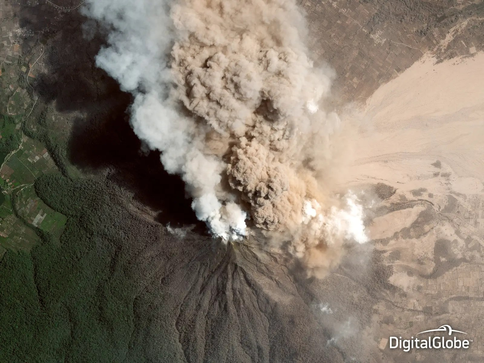 A satellite captured a view of the erupting Mount Sinabung in Indonesia on Jan. 23, 2014. First responders can use such images to assess damage and help create evacuation plans.
