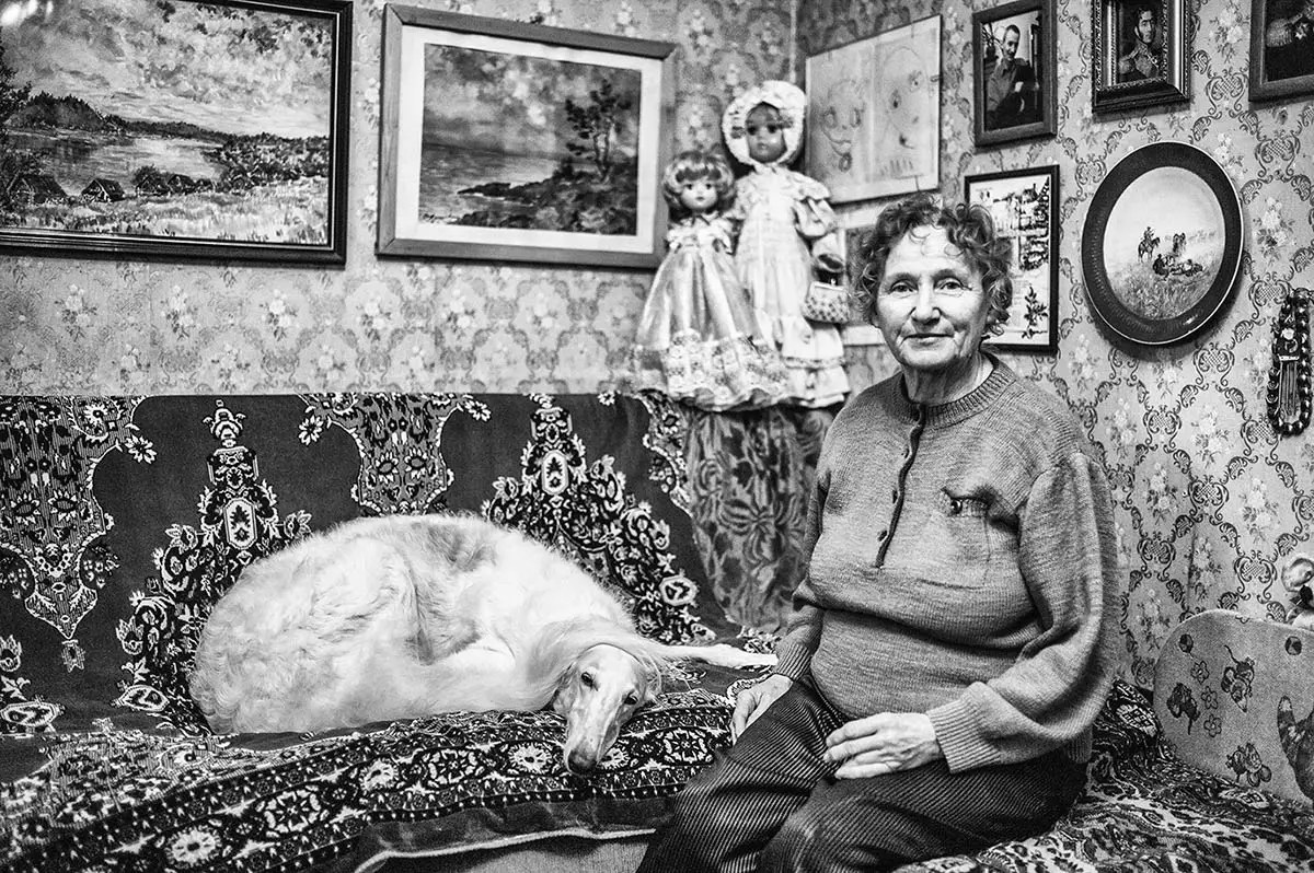 """Ludmila, age 75. Profession: Art historian. Passion or Dream: """"My whole professional life, I was involved in restoring art work and I've been breeding and taking care of Greyhounds for 50 years."""""""
