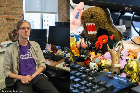 Some of the most impressive collectibles in the office can be found on employees' desks. Jos Kraaijeveld, a software engineer, owns two gold-painted Demihero figurines from the video game Dota 2. Kraaijeveld hosts workshops on how to play Dota 2 after work.