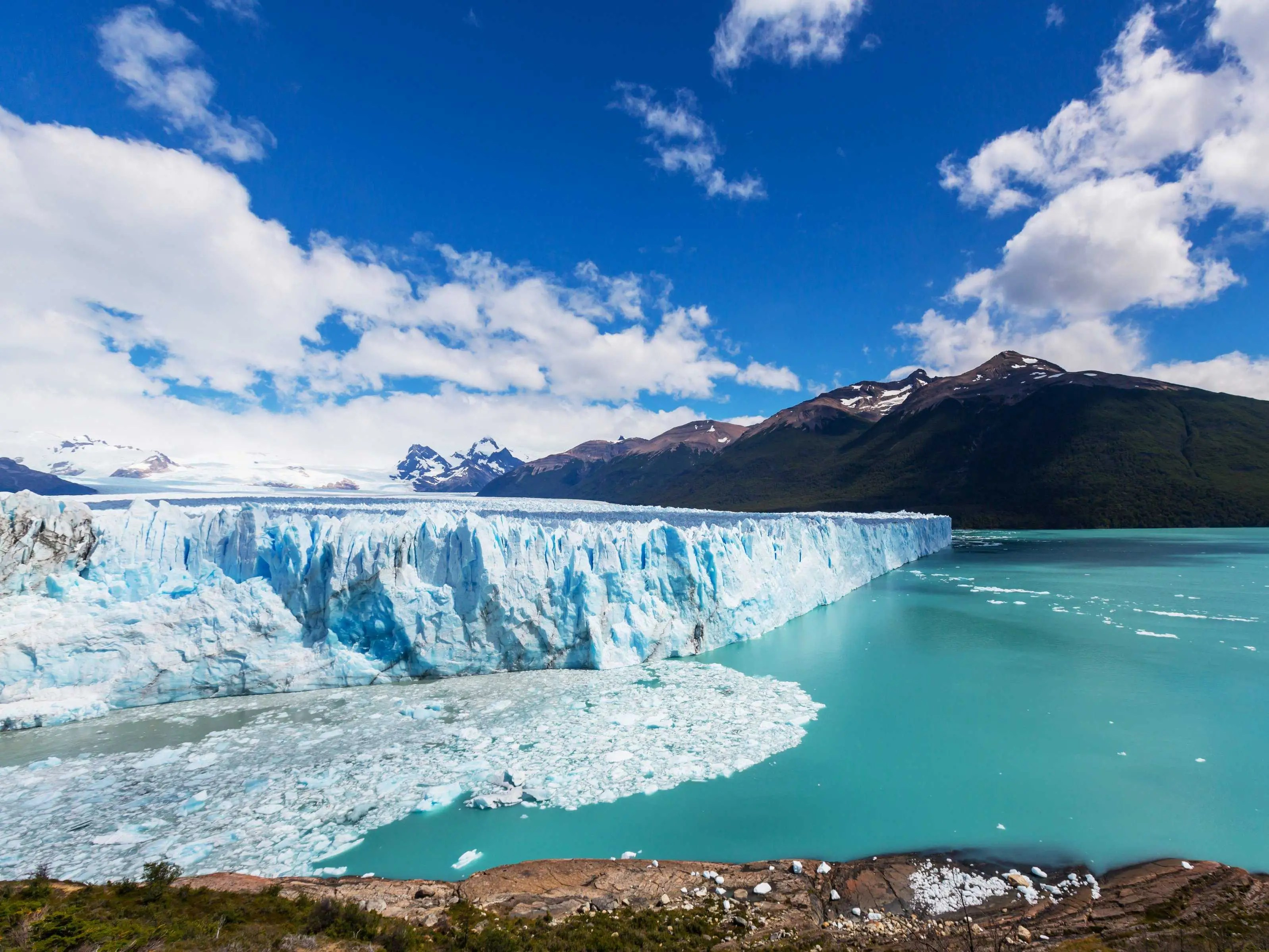 Los Glaciares National Park in Patagonia, Argentina, is home to the largest ice mantle outside of Antarctica. Glaciers feed into the nearby Lake Argentino to create a breathtaking view.