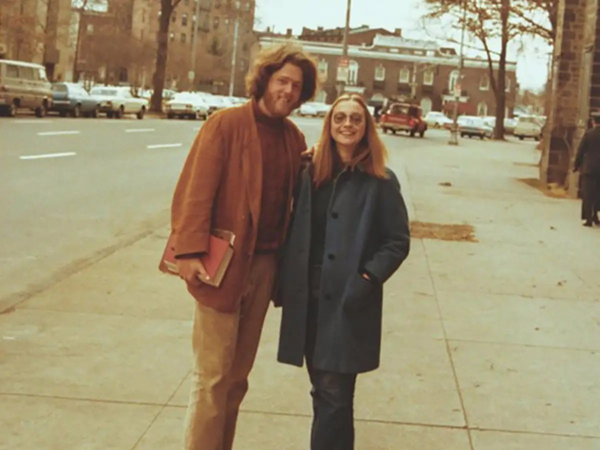 "In his memoir, Bill Clinton writes that Hillary caught his eye in a class on political and civil rights. ""She had thick dark blond hair and wore eyeglasses and no makeup,"" he describes. ""But she conveyed a sense of strength and self-possession I had rarely seen in anyone, man or woman."""