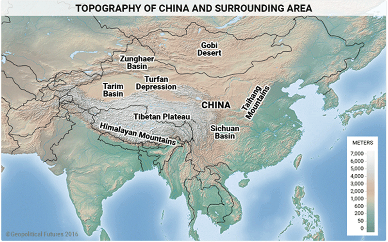 Topography of China and surrounding area