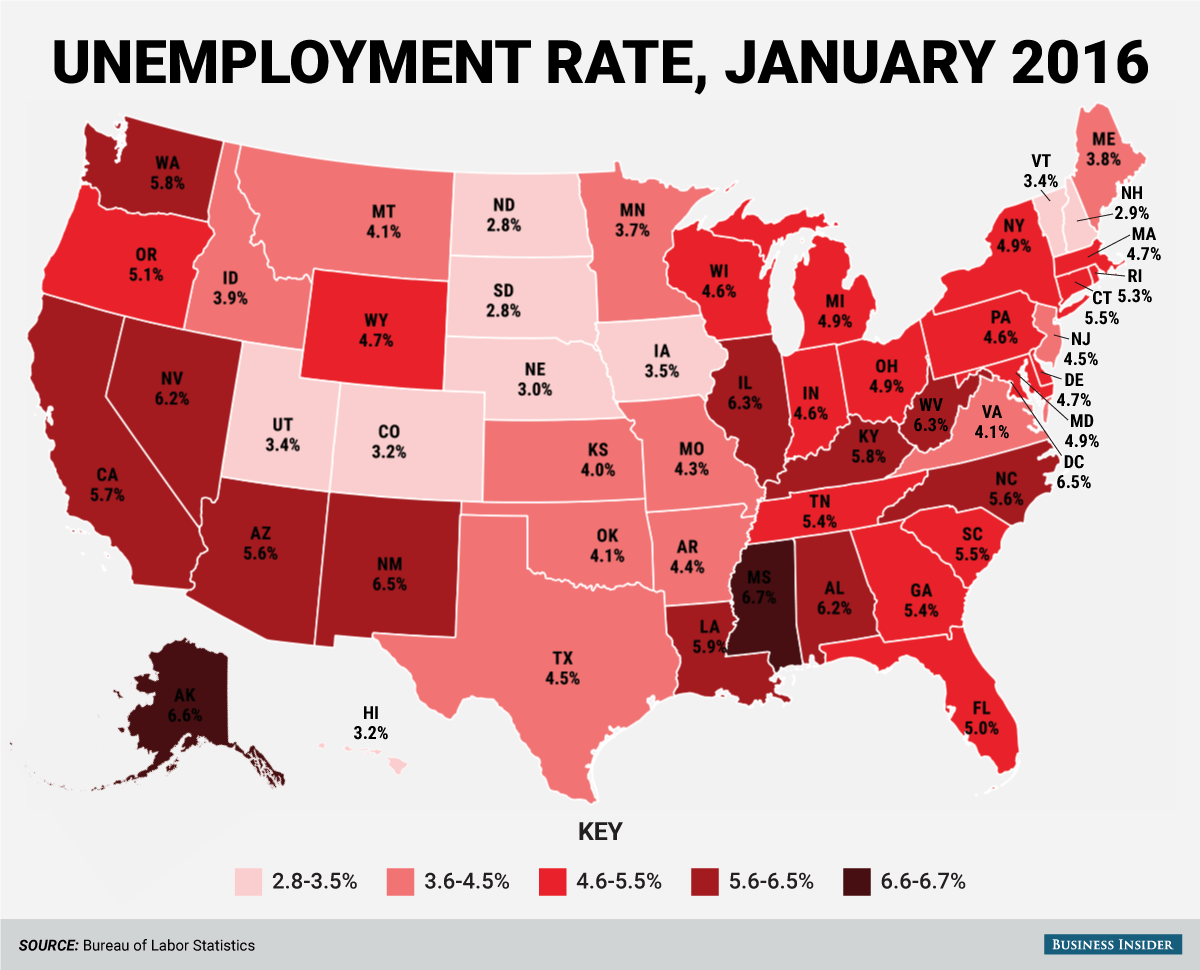 State Unemployment Map January