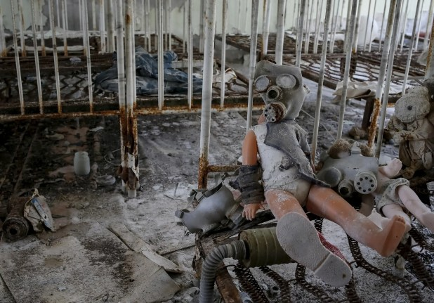 Child-size gas masks are routinely found inside abandoned child care facilities such as this one.