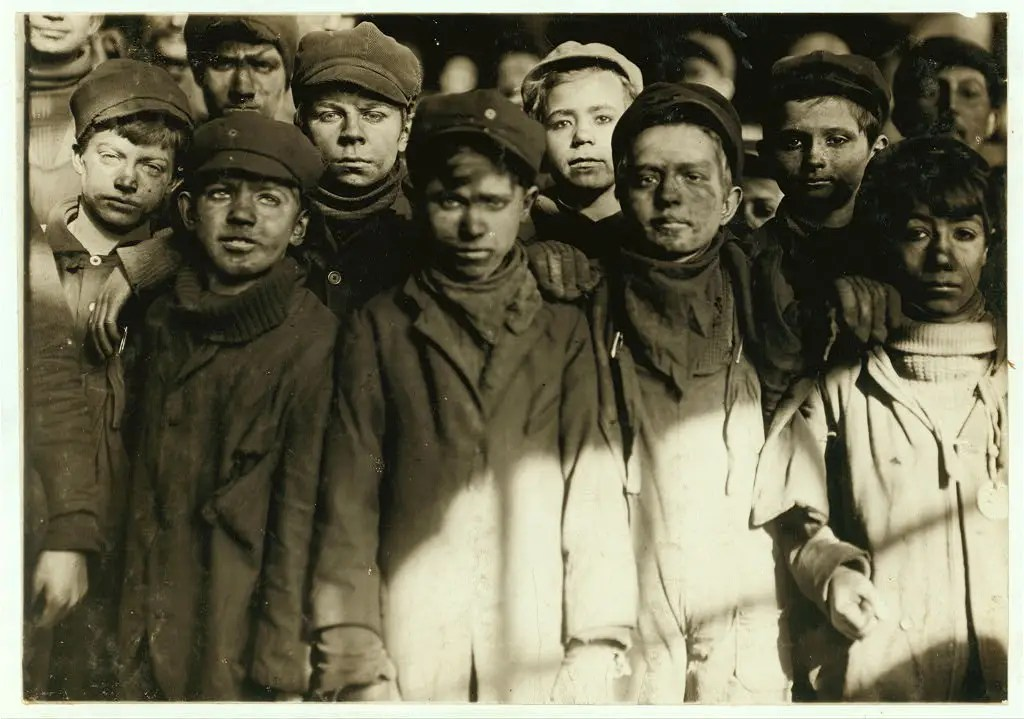 Group of Breaker Boys in #9 Breaker, Hughestown Borough, Pennsylvania Coal Co. Location: Pittston, Pennsylvania, January 1911.
