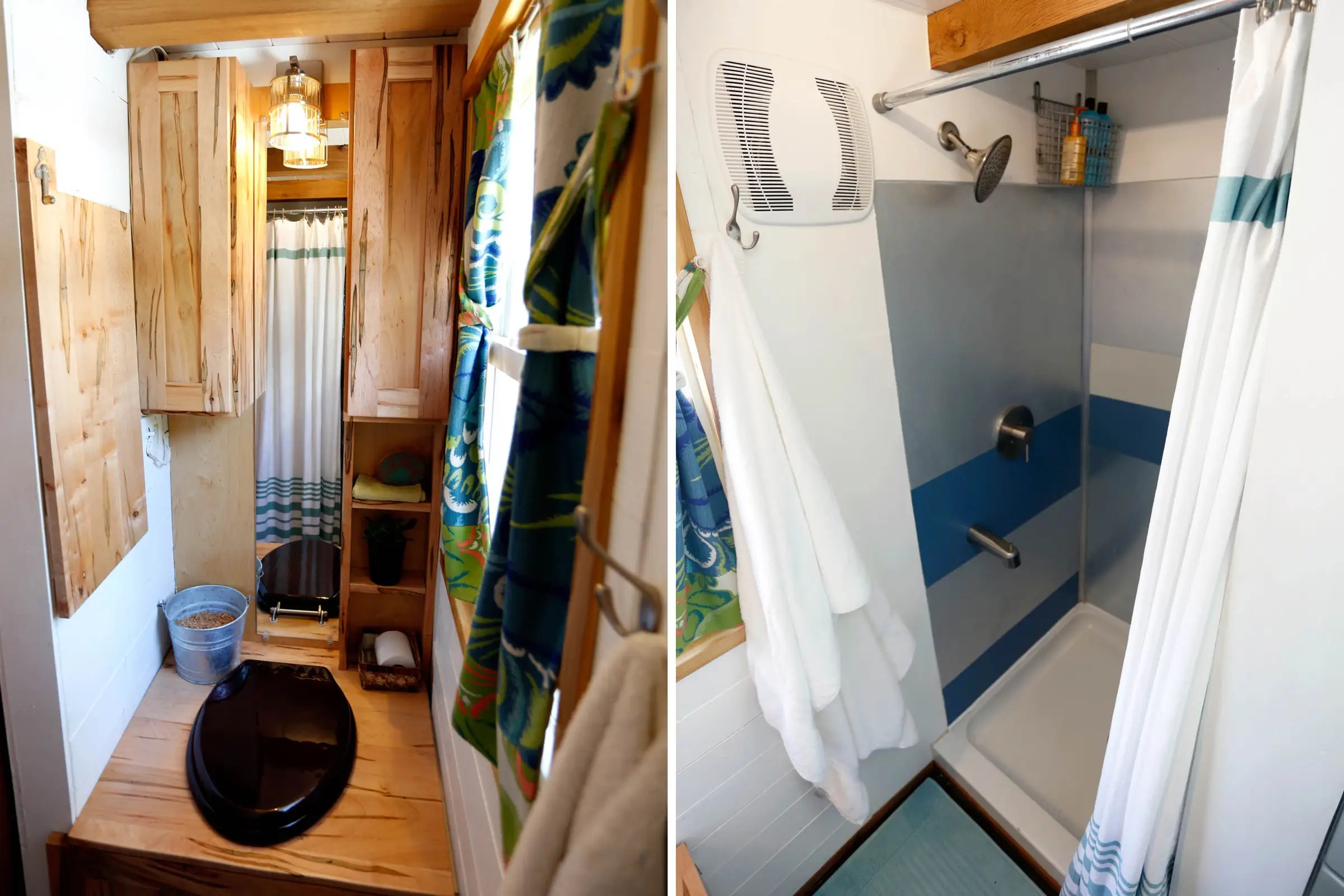 "The couple splurged on space for the shower, as well. It's 34 by 36 inches, larger than most tiny house showers, and includes a tub for ""feet washing."""