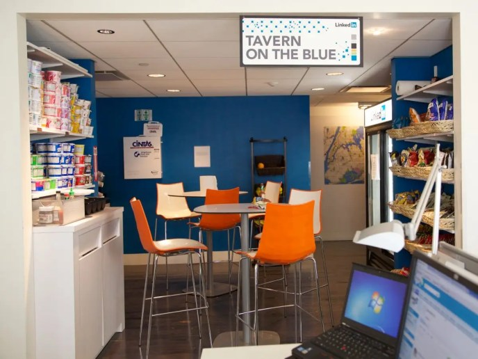 """LinkedIn's office in New York features a """"Tavern on the Blue,"""" a take on Central Park's famed restaurant, Tavern on the Green. It's one of three kitchens in the office."""