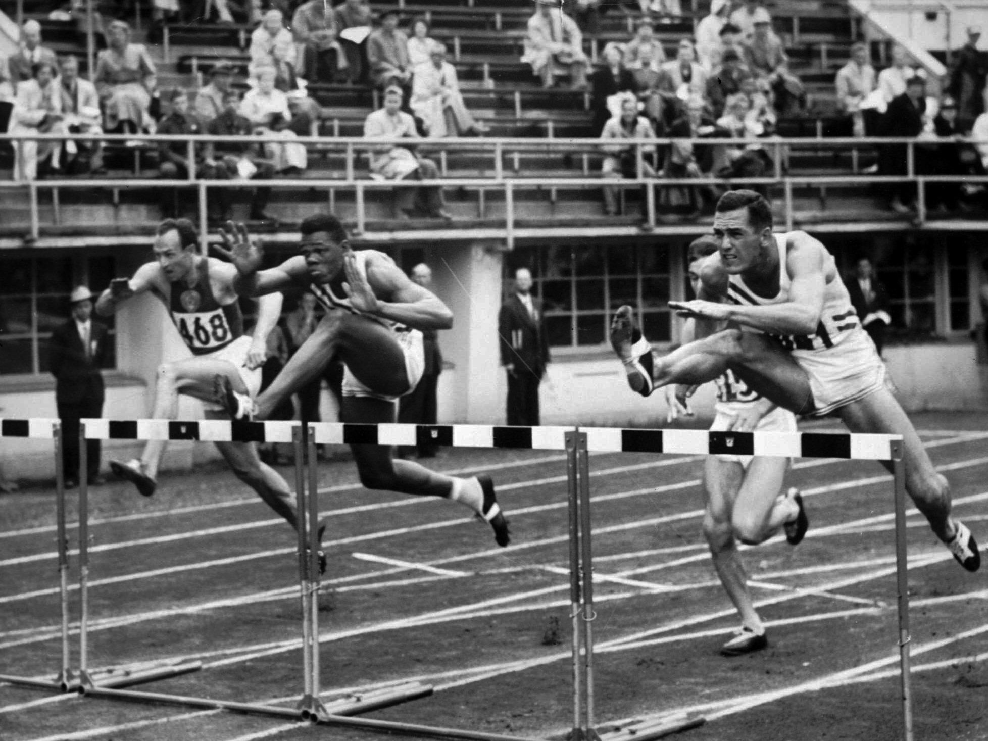 Helsinki, 1952: Team USA's Milt Campbell, centre, won the fifth heat of the 110-metre hurdles event in the Olympic decathlon. Campbell, who became the first black person to win the Olympic decathlon in 1956 and later became a motivational speaker, died in 2012 after a battle with prostate cancer. He was 78.