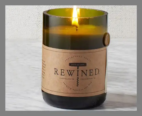 A wine-scented candle