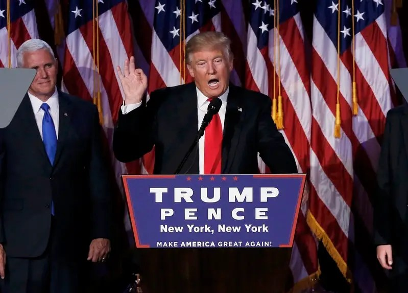 U.S. President-elect Donald Trump and his running mate Mike Pence address their election night rally in Manhattan, New York, U.S., November 9, 2016. REUTERS/Mike Segar