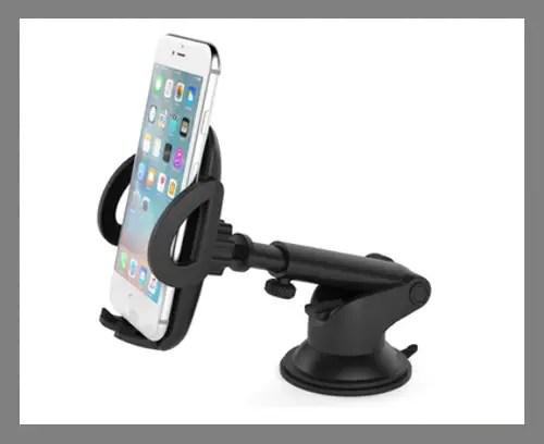 A suction car phone mount