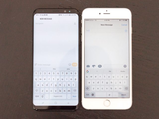 6. It's easier to type with one hand on the Galaxy S8+ than the iPhone 7 Plus.