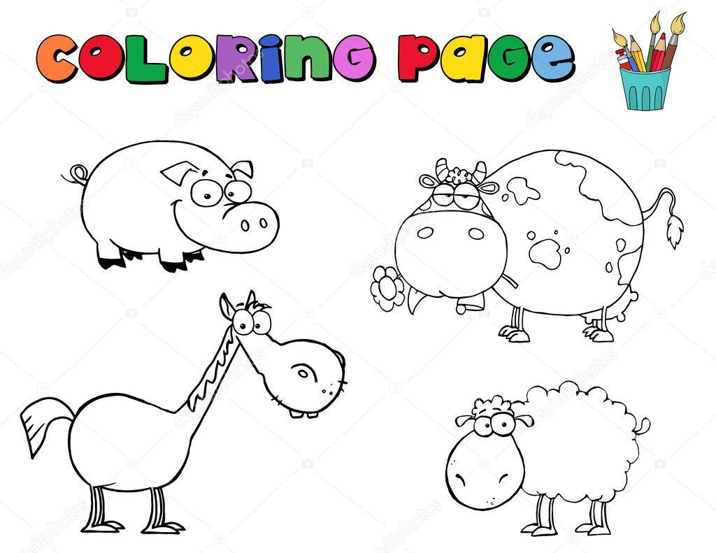 Coloring Page Farm Animals