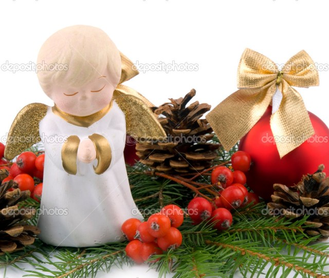 Little Ceramic Angel Christmas Decoration Stock Photo