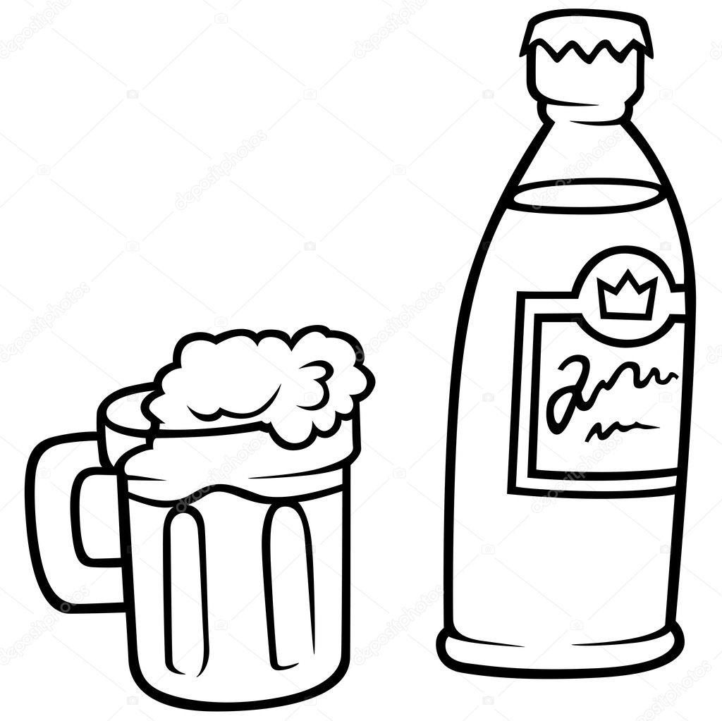 Verre De Biere Et Bouteille