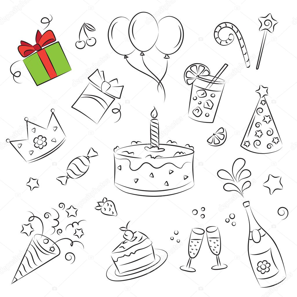 Vector Sketch Clipart Set Birthday Party