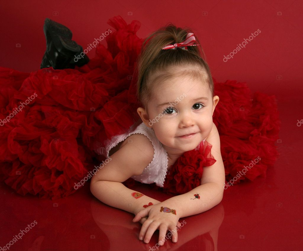 Adorable Little Girl In Red Pettiskirt Tutu And Black