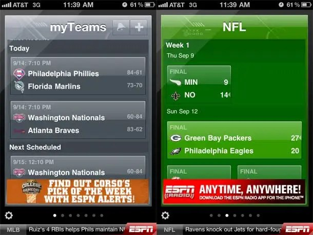ESPN ScoreCenter is the one stop shop for sports scores