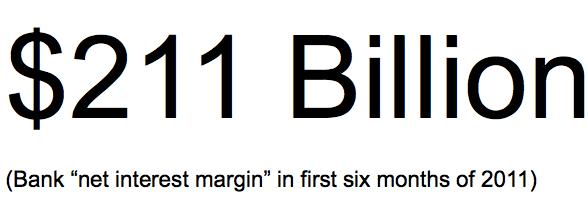 """Cuando usted puede pedir prestado dinero para nada, y se lo preste de nuevo al gobierno libre de riesgo para unos pocos puntos porcentuales, se puede acuñar moneda. Y los bancos lo están haciendo. De acuerdo con IRA, el """"margen de interés neto"""" que realizan los bancos de EE.UU. en los primeros seis meses de este año es de $ 211 mil millones. Nice!"""
