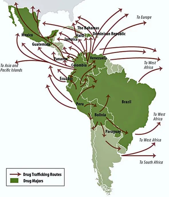Most of the drugs that enter the U.S. come from Central and South America