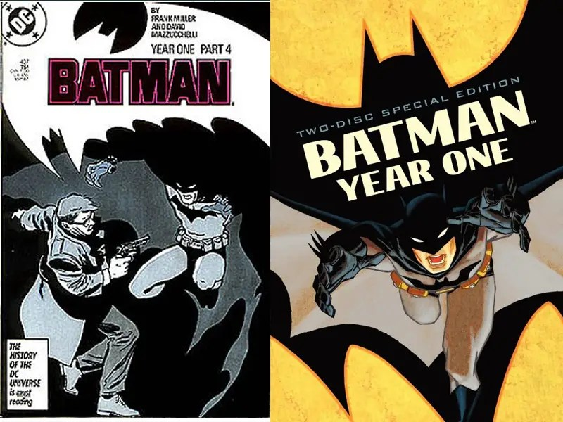 "1987: ""Batman: Year One"" – The costume returned to a grey and black version with a sometimes yellow oval. This also introduced the pouch utility belt. 2011 saw the return of ""<a href=""http://www.imdb.com/title/tt1672723/"">Batman: Year One.</a>"""