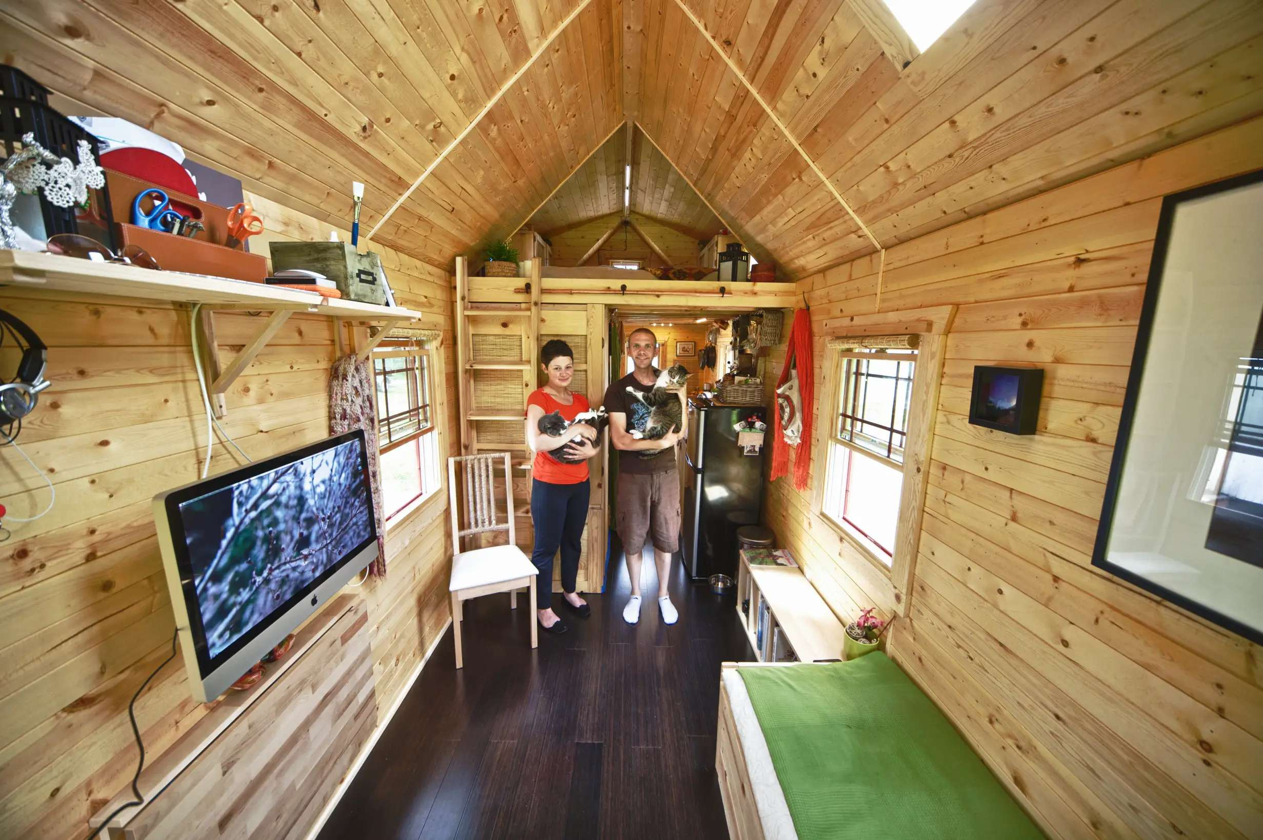 """Chris and Malissa Tack gave up their high-tech lives in 2011 and condensed their world into a """"tiny house"""" in the town of Snohomish, Washington. Their new home is only 140-square-feet."""