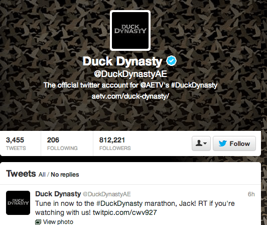 "R/GA makes sure that ""Duck Dynasty"" is on its Twitter game."