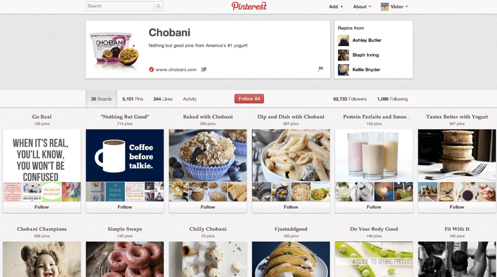 Piñeiro is currently overseeing Chobani strategy. Here's the yogurt on Pinterest.