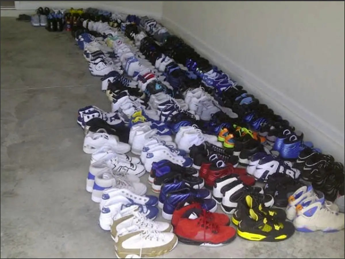 Which doesn't include the shoes he wore in the 2010 season worth $7,730, which he gave away in a contest.