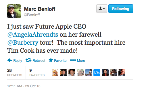 Angela Ahrendts tweet