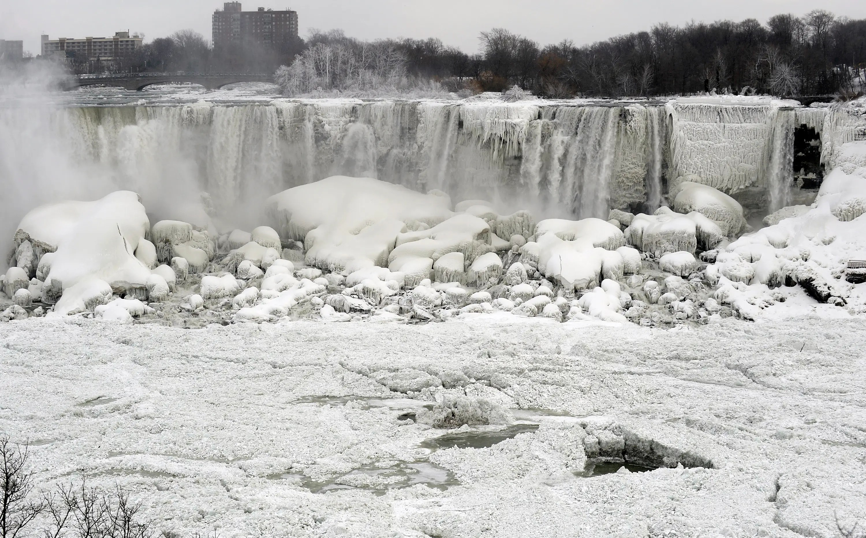 Contrary to some reports, Niagara Falls didn't totally freeze, but the polar vortex formed enough ice to create some spectacular images.