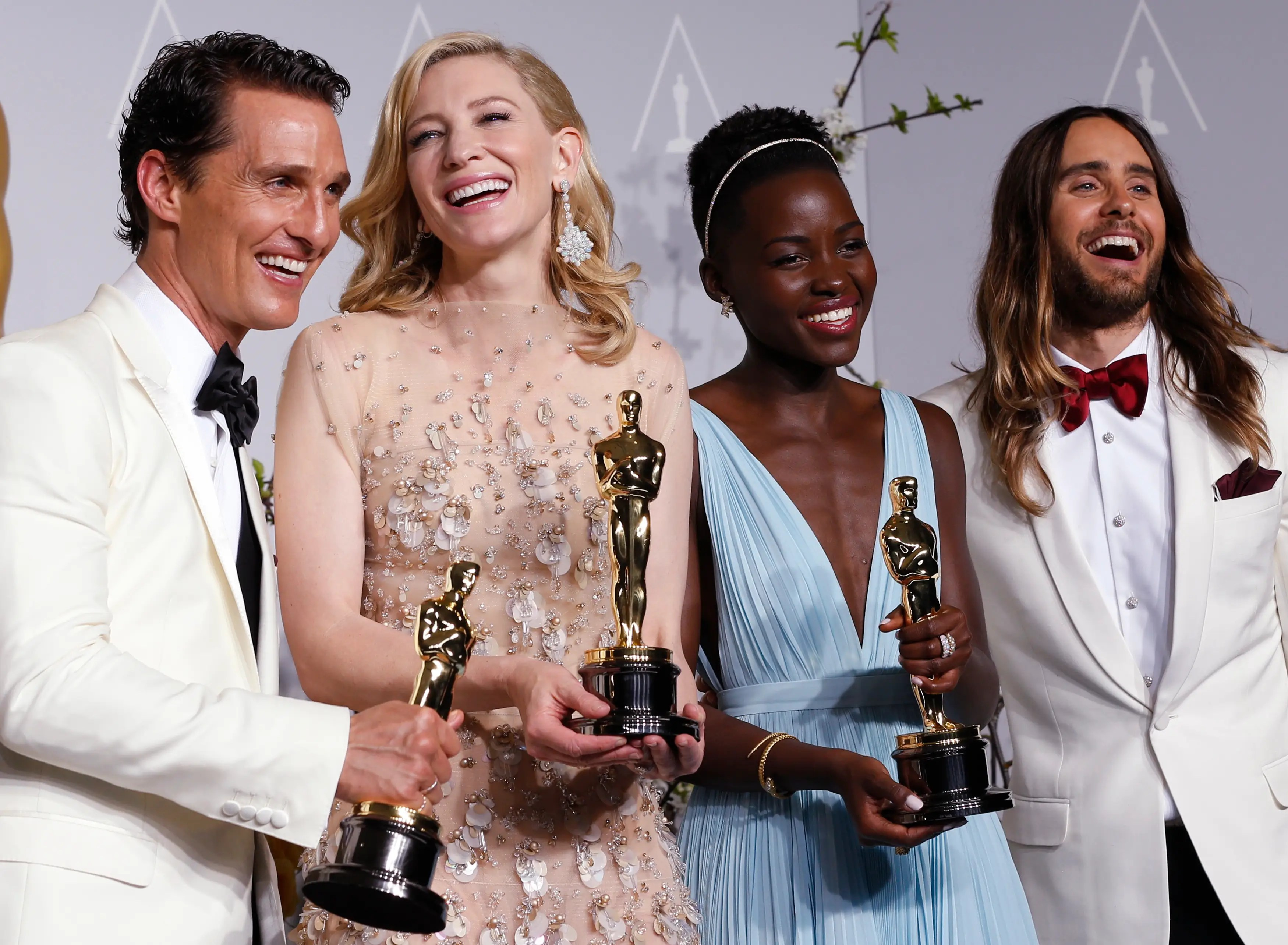 Here are the four big winners from the night: Matthew McConaughey (Best Actor), Cate Blanchett (Best Actress), Lupita Nyong'o (Best Supporting Actress), and Jared Leto (Best Supporting Actor).